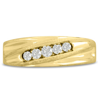 Men's 1/4ct Diamond Ring In 10K Yellow Gold, I-J-K, I1-I2