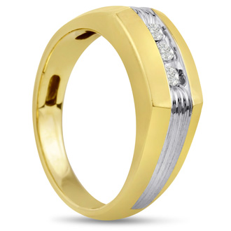 Men's 1/10ct Diamond Ring In 10K Two-Tone Gold, I-J-K, I1-I2
