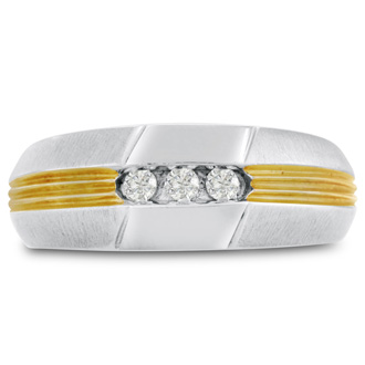 Men's 1/10ct Diamond Ring In 14K Two-Tone Gold, I-J-K, I1-I2