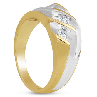Men's 1/2ct Diamond Ring In 10K Two-Tone Gold, G-H, I2-I3