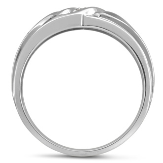 Men's .05ct Diamond Ring In 10K White Gold, I-J-K, I1-I2