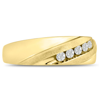 Men's 1/4ct Diamond Ring In 10K Yellow Gold, G-H, I2-I3
