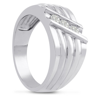 Men's 1/4ct Diamond Ring In 14K White Gold, G-H, I2-I3