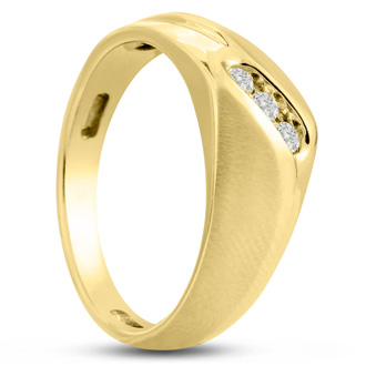 Men's 1/10ct Diamond Ring In 10K Yellow Gold, G-H, I2-I3