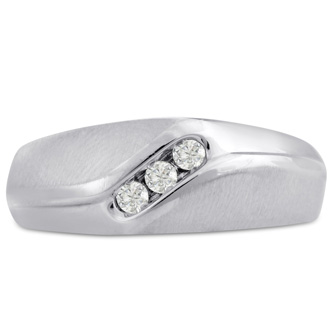 Men's 1/10ct Diamond Ring In 14K White Gold, I-J-K, I1-I2
