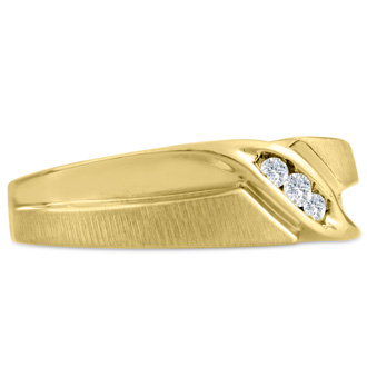 Men's 1/10ct Diamond Ring In 14K Yellow Gold, G-H, I2-I3