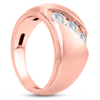Men's 3/4ct Diamond Ring In 10K Rose Gold, G-H, I2-I3
