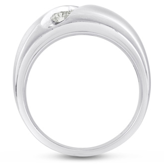 Men's 3/4ct Diamond Ring In 10K White Gold, G-H, I2-I3
