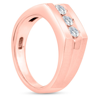 Men's 1/2ct Diamond Ring In 14K Rose Gold, I-J-K, I1-I2