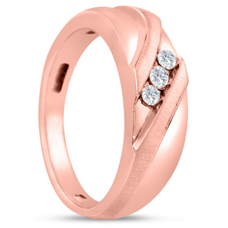 Men's 1/10ct Diamond Ring In 10K Rose Gold, I-J-K, I1-I2