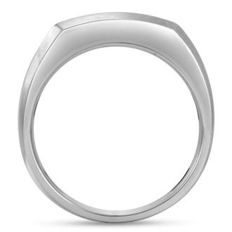 Men's 3/4ct Diamond Ring In 10K White Gold, I-J-K, I1-I2