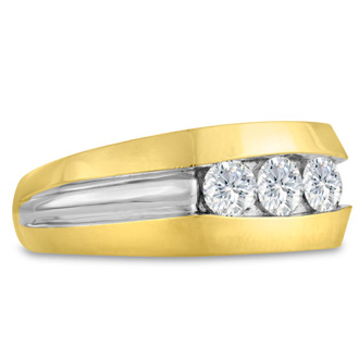 Men's 3/4ct Diamond Ring In 14K Two-Tone Gold, I-J-K, I1-I2