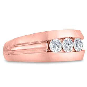Men's 3/4ct Diamond Ring In 14K Rose Gold, I-J-K, I1-I2