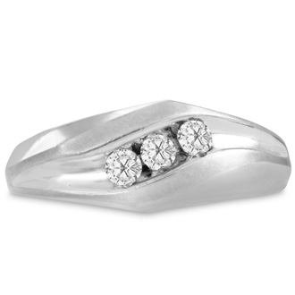Men's 1/4ct Diamond Ring In 10K White Gold, I-J-K, I1-I2