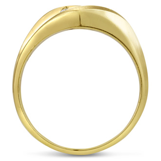 Men's 1/4ct Diamond Ring In 14K Yellow Gold, I-J-K, I1-I2