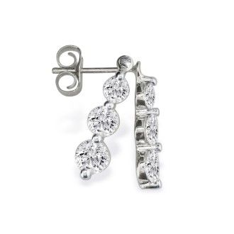 1/4ct Three Diamond Drop Style Diamond Earrings In 14k White Gold