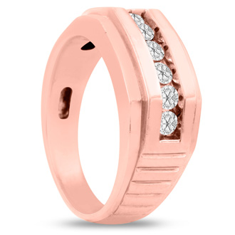 Men's 1/2ct Diamond Ring In 14K Rose Gold, G-H, I2-I3