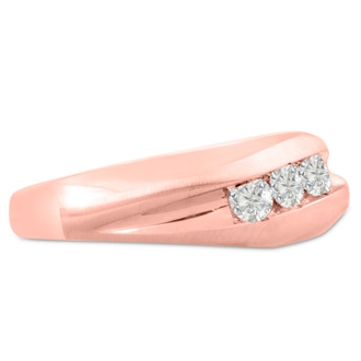 Men's 1/3ct Diamond Ring In 14K Rose Gold, G-H, I2-I3