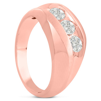 Men's 1ct Diamond Ring In 10K Rose Gold, I-J-K, I1-I2