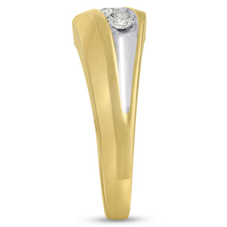 Men's 3/4ct Diamond Ring In 10K Two-Tone Gold, I-J-K, I1-I2