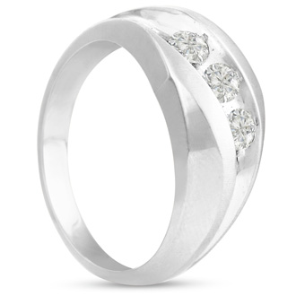 Men's 3/4ct Diamond Ring In 14K White Gold, I-J-K, I1-I2