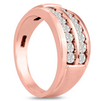 Men's 1ct Diamond Ring In 10K Rose Gold, G-H, I2-I3