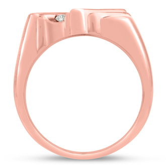 Men's 1/4ct Diamond Ring In 14K Rose Gold, I-J-K, I1-I2
