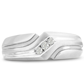 Men's 1/10ct Diamond Ring In 14K White Gold, G-H, I2-I3