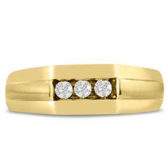 Men's 1/4ct Diamond Ring In 14K Yellow Gold, I-J-K, I1-I2
