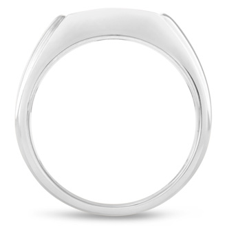 Men's 1/3ct Diamond Ring In 10K White Gold, I-J-K, I1-I2