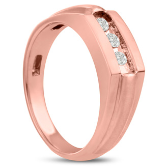 Men's 1/3ct Diamond Ring In 14K Rose Gold, I-J-K, I1-I2