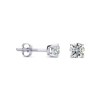 1/2 Carat Round Diamond Stud Earrings In Platinum