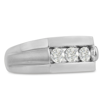 Men's 3/4ct Diamond Ring In 10K White Gold, I-J-K, I1-I2
