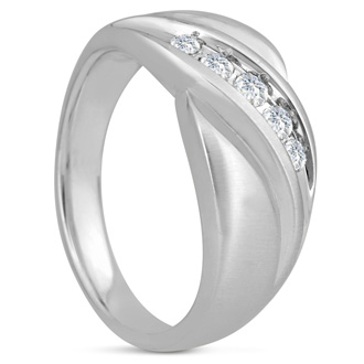 Men's 1/3ct Diamond Ring In 10K White Gold, G-H, I2-I3