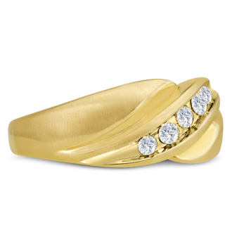 Men's 1/3ct Diamond Ring In 10K Yellow Gold, G-H, I2-I3