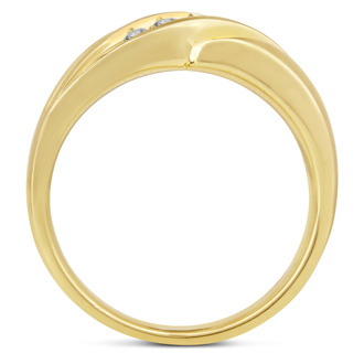 Men's 1/3ct Diamond Ring In 10K Yellow Gold, I-J-K, I1-I2