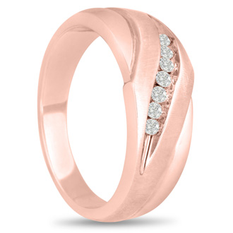 Men's 1/10ct Diamond Ring In 10K Rose Gold, G-H, I2-I3
