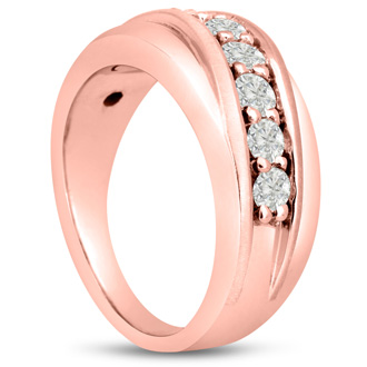 Men's 1ct Diamond Ring In 14K Rose Gold, I-J-K, I1-I2