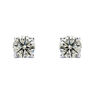 Platinum Nearly 3/4 Carat Diamond Stud Earrings, Beautiful and Fiery. Natural, Earth-Mined Diamonds
