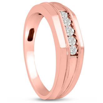 Men's 1/5ct Diamond Ring In 10K Rose Gold, G-H, I2-I3