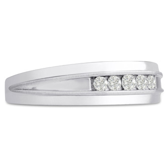 Men's 1/5ct Diamond Ring In 14K White Gold, I-J-K, I1-I2
