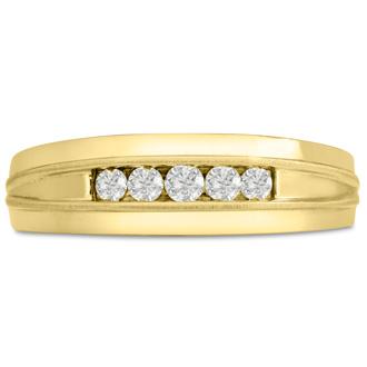 Men's 1/5ct Diamond Ring In 14K Yellow Gold, I-J-K, I1-I2