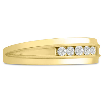 Men's 1/5ct Diamond Ring In 14K Yellow Gold, I-J-K, I1-I2