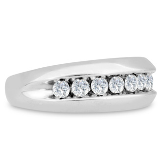 Men's 1ct Diamond Ring In 10K White Gold, I-J-K, I1-I2