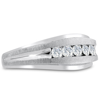 Men's 1/2ct Diamond Ring In 14K White Gold, I-J-K, I1-I2