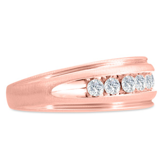 Men's 1/2ct Diamond Ring In 10K Rose Gold, I-J-K, I1-I2