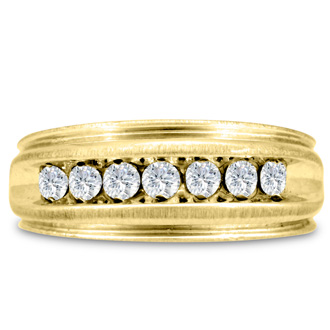 Men's 1/2ct Diamond Ring In 10K Yellow Gold, G-H, I2-I3