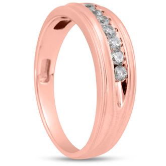 Men's 1/4ct Diamond Ring In 10K Rose Gold, G-H, I2-I3