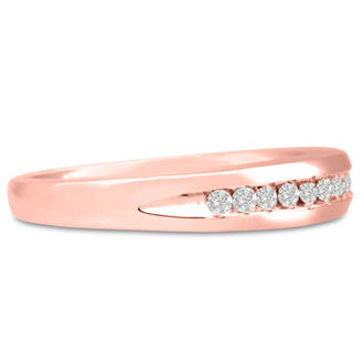 Men's 1/10ct Diamond Ring In 14K Rose Gold, I-J-K, I1-I2