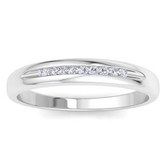 Men's 1/10ct Diamond Ring In 14K White Gold, I-J-K, I1-I2